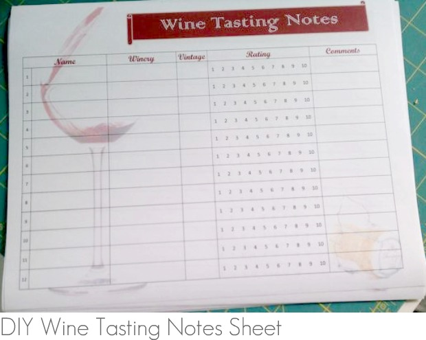 Wine tasting notes obsolete as soon as they are written for Wine tasting sheet template