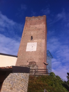 The imposing tower in the village of Barbaresco